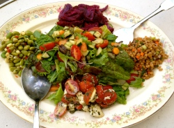 Edamame, Caprese, Farro, Pickled Beet And Mixed Green Salads