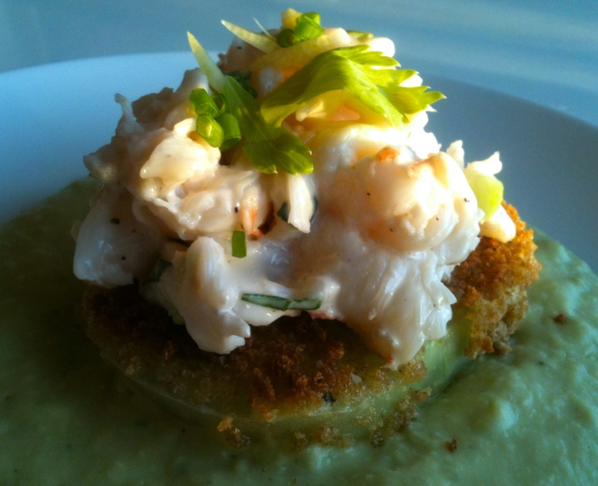 Fried Green Tomato and Lobster Salad with Lima Bean Puree